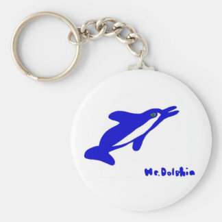 Mr. Dolphin- a dolphin graphic in blue and white Key Chain