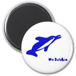 Mr. Dolphin- a dolphin graphic in blue and white Magnet