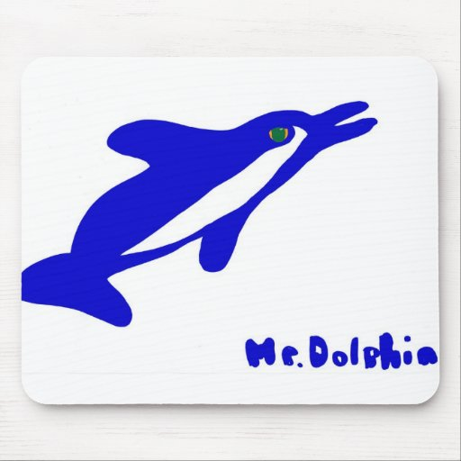 Mr. Dolphin- a dolphin graphic in blue and white Mouse Pad