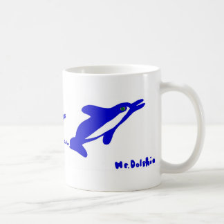 Mr. Dolphin- a dolphin graphic in blue and white Mug