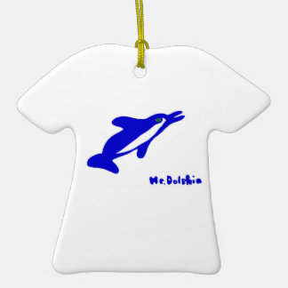 Mr. Dolphin- a dolphin graphic in blue and white Christmas Tree Ornament