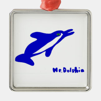 Mr. Dolphin- a dolphin graphic in blue and white Christmas Ornament