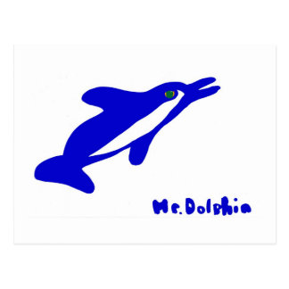 Mr. Dolphin- a dolphin graphic in blue and white Postcards