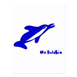 Mr. Dolphin- a dolphin graphic in blue and white Post Cards
