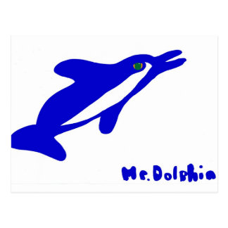 Mr. Dolphin- a dolphin graphic in blue and white Postcard