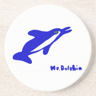 Mr. Dolphin- a dolphin graphic in blue and white Sandstone Coaster