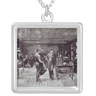Mr Edison , The Eminent Electrician Silver Plated Necklace