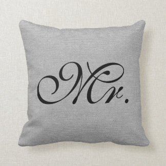Mr. faux french gray linen rustic chic initial jut throw pillow