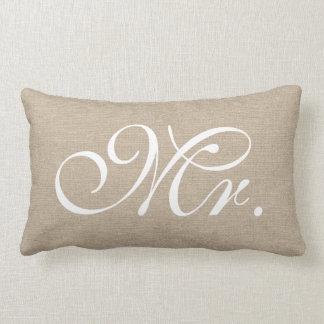 Mr faux linen burlap rustic chic initial jute throw pillow
