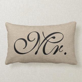 Mr faux linen burlap rustic chic initial jute pillows