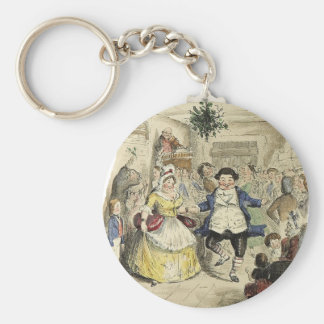 Mr. Fezziwig's Ball, A Christmas Carol Basic Round Button Keychain