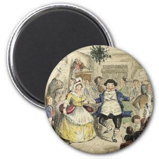 Mr. Fezziwig's Ball, A Christmas Carol 2 Inch Round Magnet