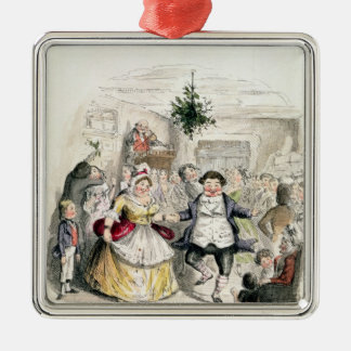 Mr Fezziwig's Ball, from 'A Christmas Carol' Square Metal Christmas Ornament