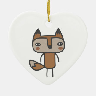 Mr Fox Double-Sided Heart Ceramic Christmas Ornament