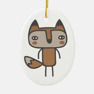 Mr Fox Double-Sided Oval Ceramic Christmas Ornament