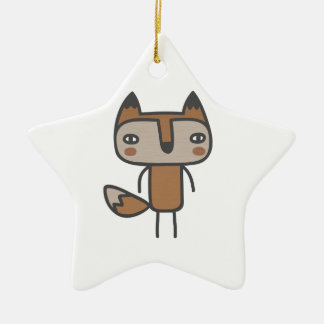 Mr Fox Double-Sided Star Ceramic Christmas Ornament