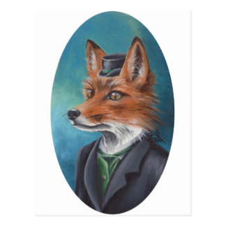 Mr. Fox Postcard Animal Postcard Fox Art