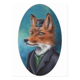 Mr. Fox Postcard Animal Postcard Fox Art
