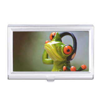 Mr. Frog with Headphones Business Card Case