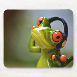 Mr. Frog with Headphones Mouse Pad