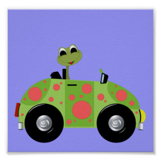 Mr Froggy and His Spotted Car Poster