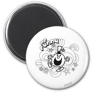 Mr. Funny | Black & White Swirls & Stars 2 Inch Round Magnet