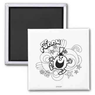 Mr. Funny | Black & White Swirls & Stars 2 Inch Square Magnet