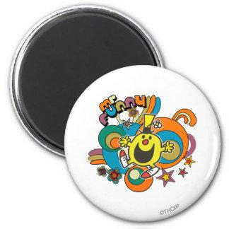 Mr. Funny | Colorful Stars & Swirls 2 Inch Round Magnet
