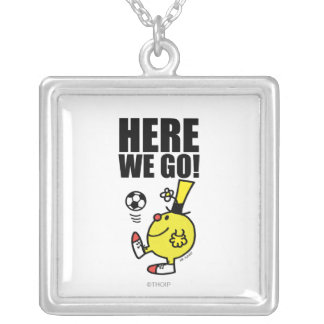 Mr. Funny Juggling A Soccer Ball Square Pendant Necklace