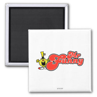 Mr. Funny | Red Lettering 2 Inch Square Magnet