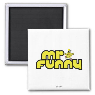 Mr. Funny | Yellow Lettering 2 Inch Square Magnet