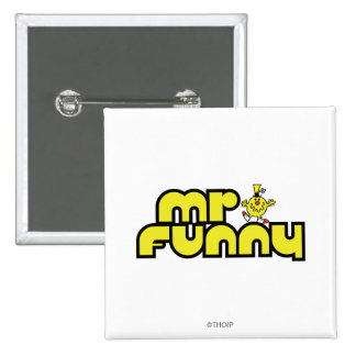 Mr. Funny | Yellow Lettering Pinback Button
