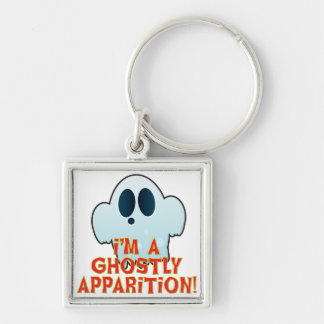 Mr Ghosty Apparition Silver-Colored Square Keychain