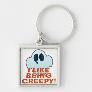 Mr Ghosty Being Creepy Silver-Colored Square Keychain