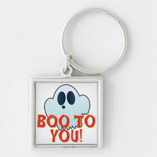 Mr Ghosty Boo Silver-Colored Square Keychain