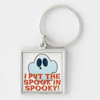 Mr Ghosty Spook In Spooky Silver-Colored Square Keychain