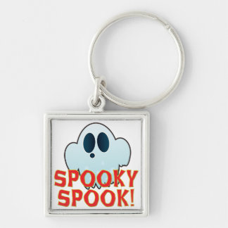Mr Ghosty Spooky Silver-Colored Square Keychain
