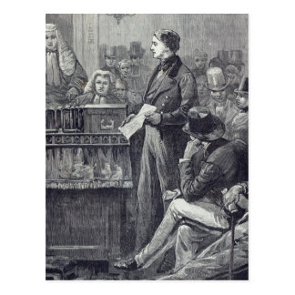Mr Gladstone delivering his Maiden Speech Postcard