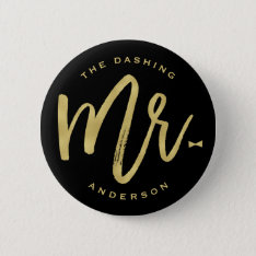 Mr Gold Brush Bow Tie Wedding Bridal Party Button at Zazzle