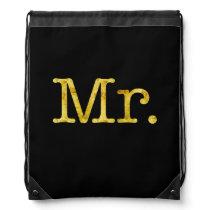 Mr. Gold Faux Glitter Metallic Inspirational Quote Drawstring Bag