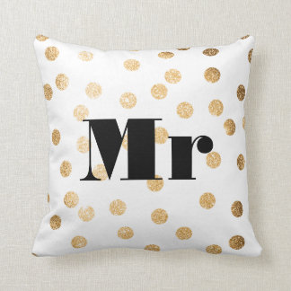 Mr Gold Glitter Dots Reversible Black and White Throw Pillows