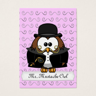 Mr. Gold Mustache Owl Business Card
