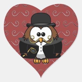 Mr. Gold Mustache Owl Heart Sticker
