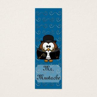 Mr. Gold Mustache Owl Mini Business Card