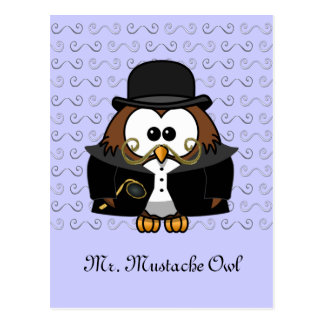 Mr. Gold Mustache Owl Postcard