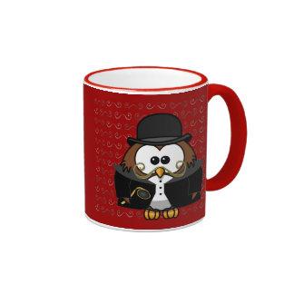 Mr. Gold Mustache Owl Ringer Mug
