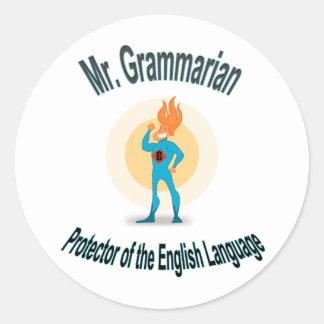 Mr. Grammarian Superhero Saves English Classic Round Sticker