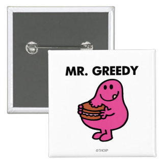 Mr. Greedy Eating Cake 2 Inch Square Button