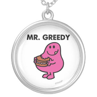 Mr. Greedy Eating Cake Silver Plated Necklace
