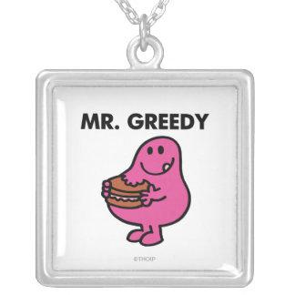 Mr. Greedy Eating Cake Square Pendant Necklace